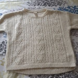Cream and gold sweater ; gray heart sweater